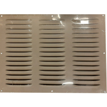 Schoepenrooster aluminium 400x300 mm. 3 rij wit