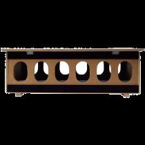 Voerbak: hout met ovale gaten BP 125 cm