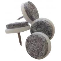 Kunststof voetje met spijker en anti kras & demping vilt. 15 mm