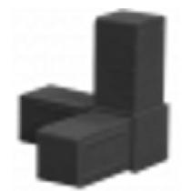 Buisverbinder hoekstuk 15x15x15 mm zwart