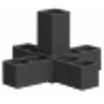 Buisverbinder 5-weg X-stuk 15x15x15x15x15 mm zwart