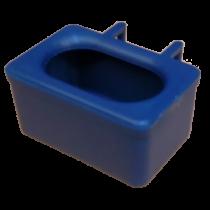 Voer water bakje, met ingegoten haken blauw