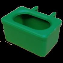 Voer water bakje, met ingegoten haken groen