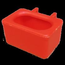 Voer water bakje, met ingegoten haken rood