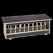 Voerbak: hout met aluminium spijlen BP 128 cm
