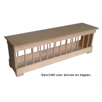 Voerbak: hout met vlakke deksel MP 100 cm