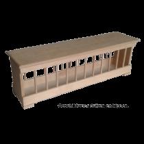 Voerbak: hout met vlakke deksel MP  150 cm
