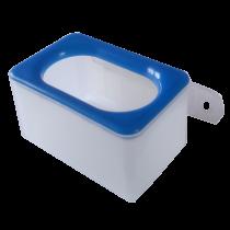 Voerbakje, inclusief wandhouder enkel blauwe rand