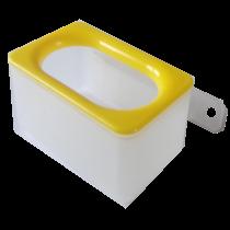 Voerbakje, inclusief wandhouder enkel gele rand
